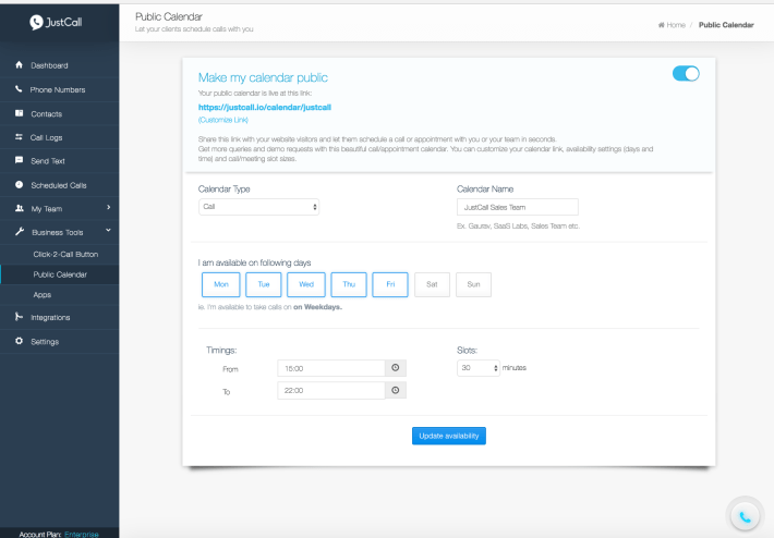 Appointment Scheduler by JustCall
