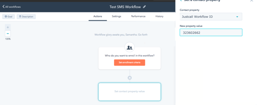 Automate SMS using HubSpot Workflow 1