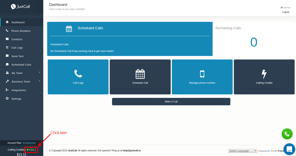 Add balance to your JustCall account