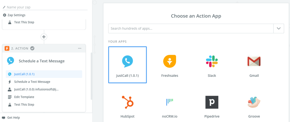 JustCall as an Action App
