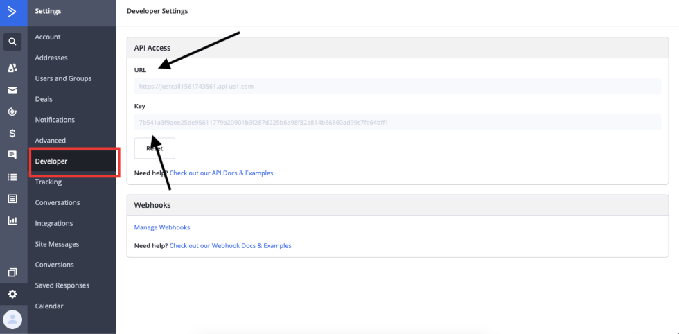 api key and url for activecampaign integration