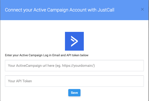 activecampaign integration - justcall page