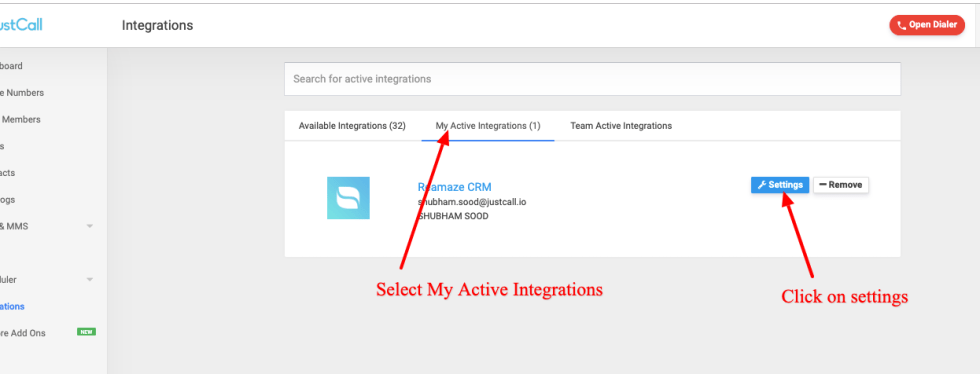 active integrations justcall