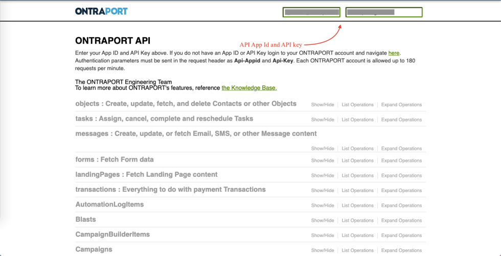 ontraport api page
