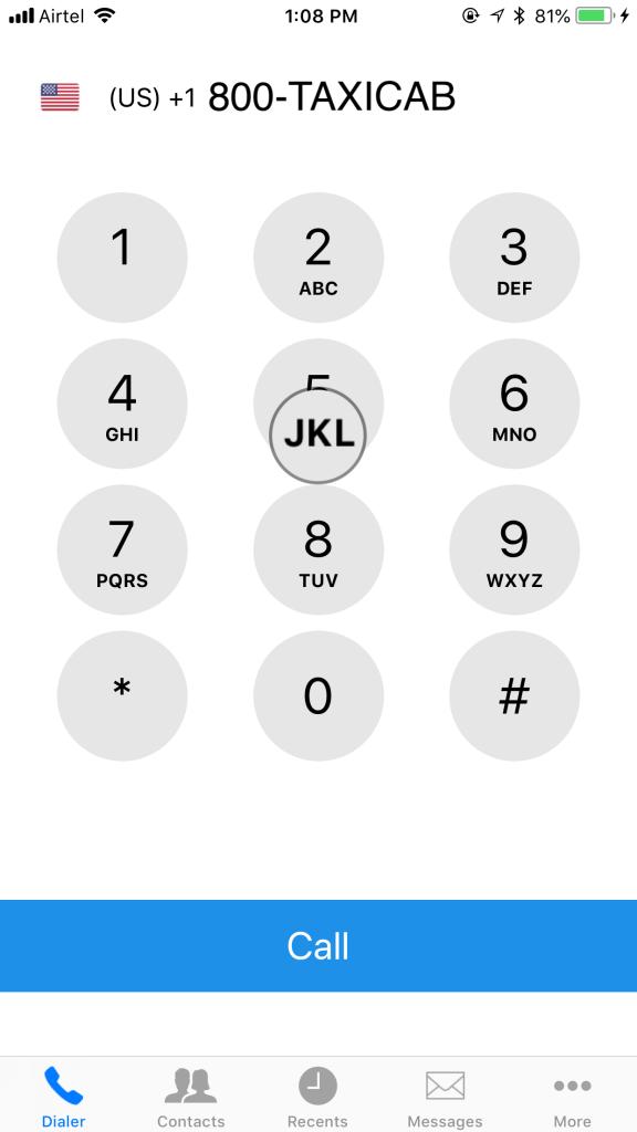 JustCall iOS App - Alphanumeric Keypad