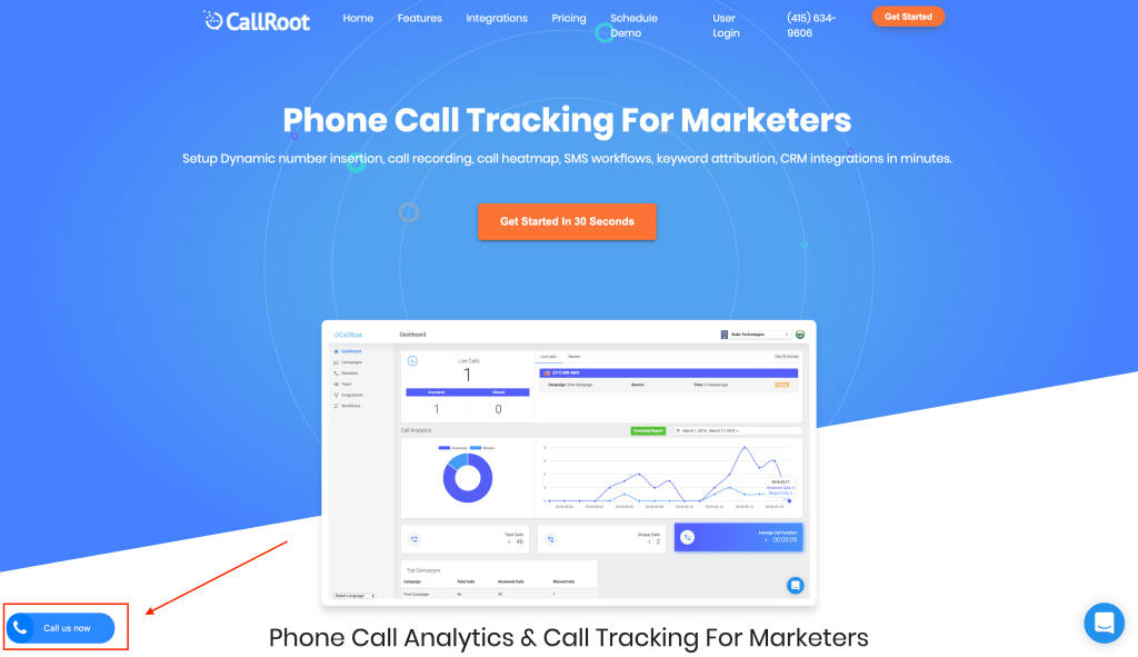 CallRoot Click-to-Call widget at the bottom left on your website