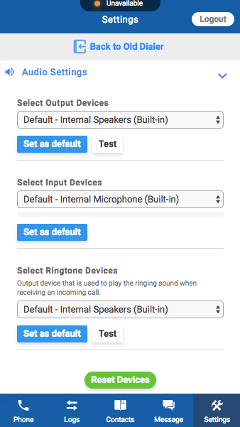 web dialer settings