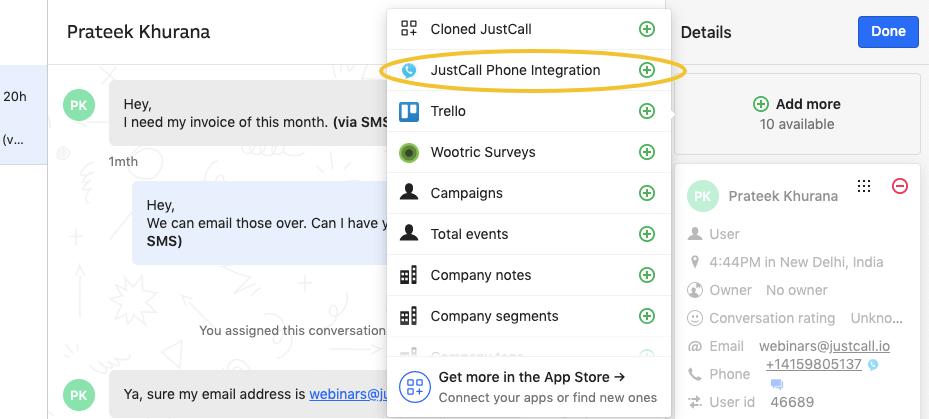 JustCall Phone Integration Intercom