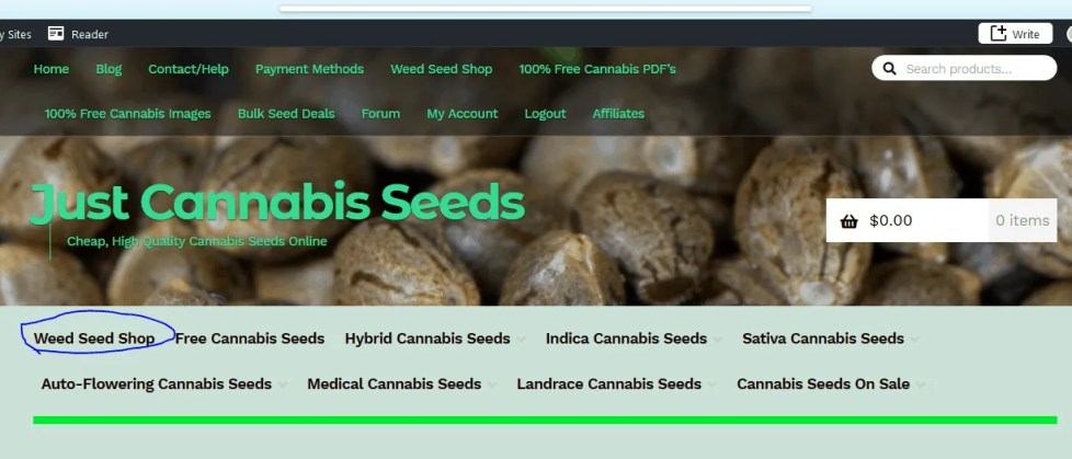 Click on Weed Seed Shop