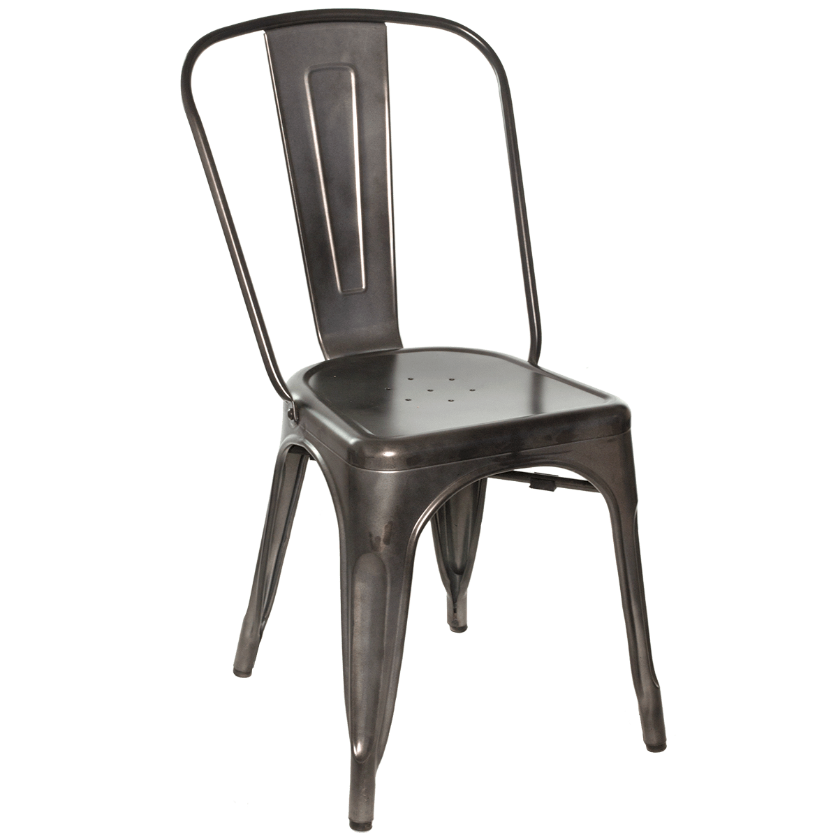 Metal Chair With Wood Seat Chairs Galvanized Gunmetal Steel Side Chair