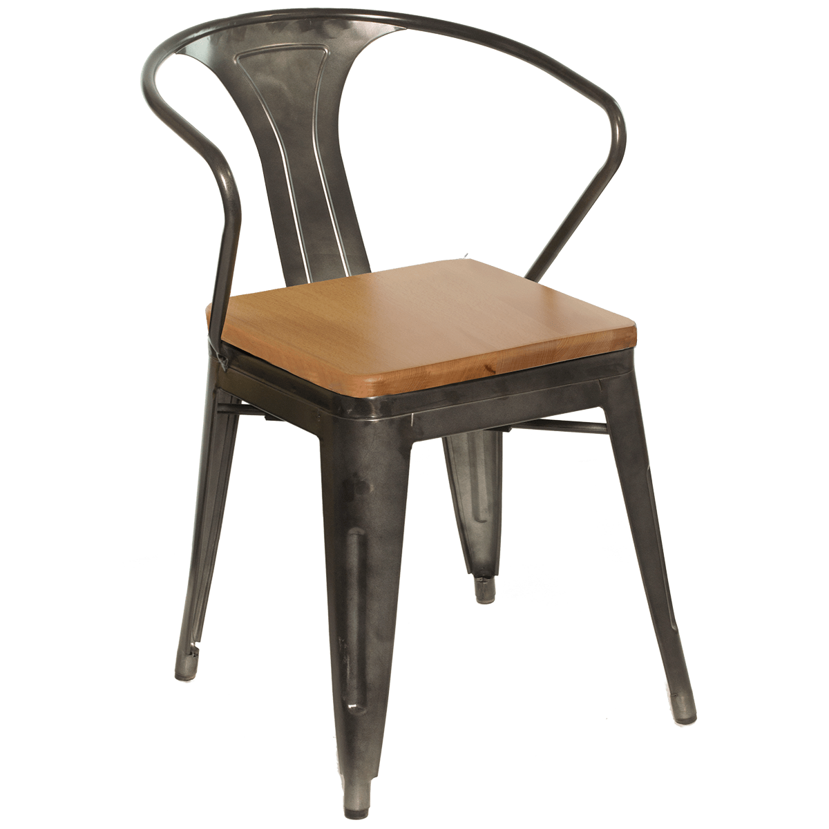 Metal Chair With Wood Seat Chairs Galvanized Gunmetal Steel Arm Chair