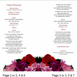 order of service template Red Flowers Theme