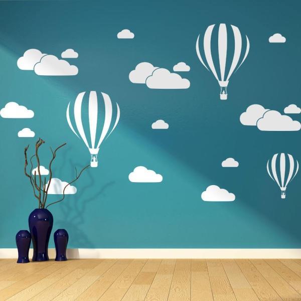 hot air balloon clouds wall art