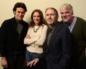 The director with Willem Dafoe, Rachel McAdams, and Philip Seymour Hoffman