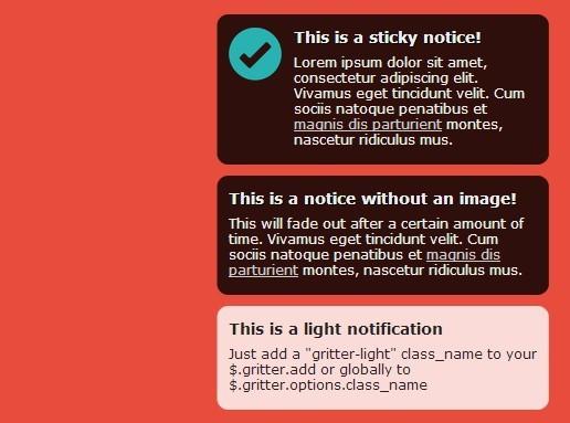 jQuery :使用jquery.gritter.js实现弹框提示信息, 使用JQuery.Gritter做通知