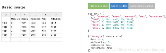 在线编辑excel表格, jQuery Handsontable和jExcel.js表格编辑插件, 前端可编辑表格