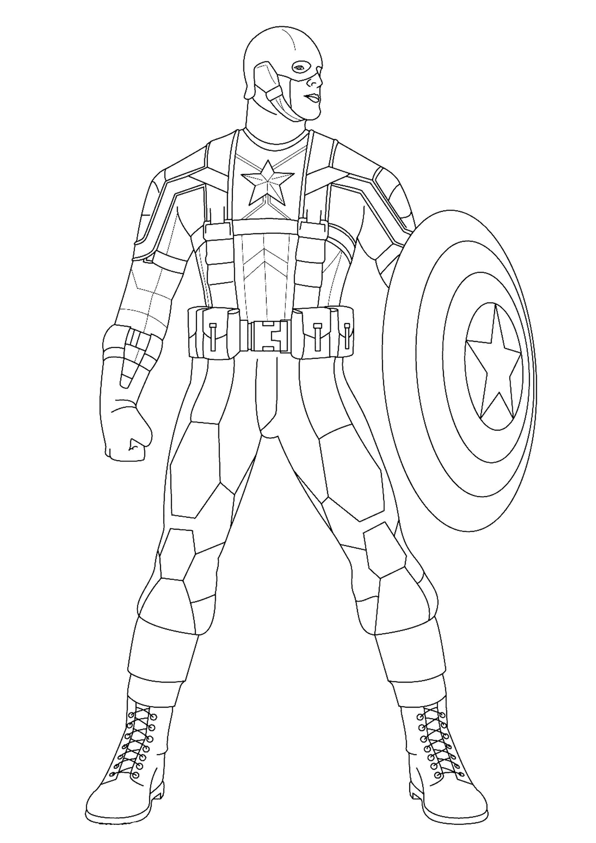 Captain America Coloring Page : captain, america, coloring, Captain, America, Coloring, Pages
