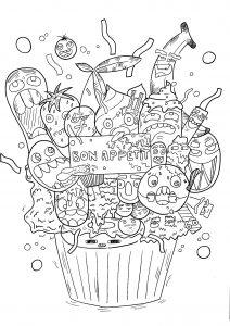 Doodle Art Simple Kawaii Food Coloring Pages Novocom Top