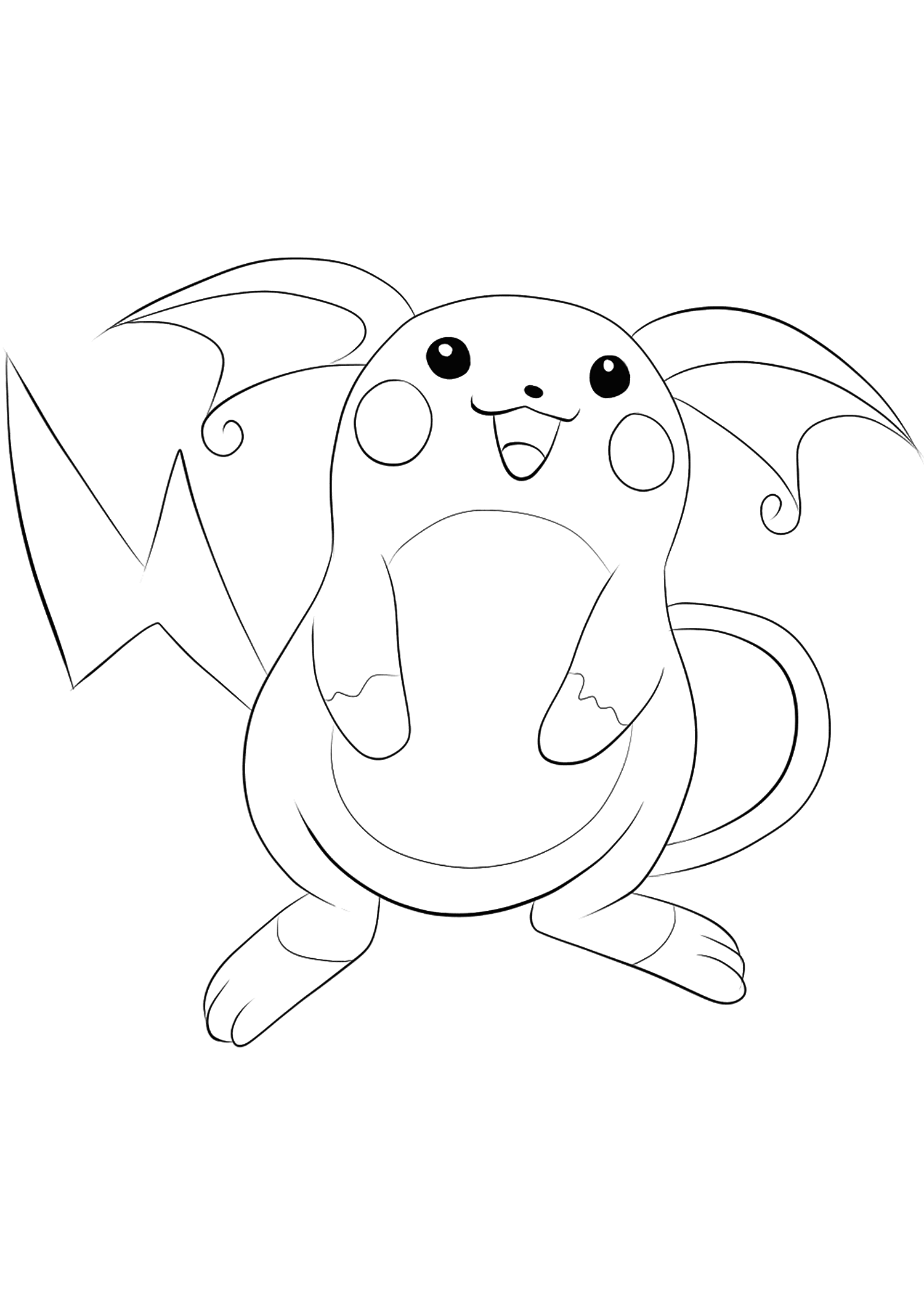 Raichu Pokemon Coloring Pages : raichu, pokemon, coloring, pages, Raichu, No.26, Pokemon, Generation, Coloring, Pages