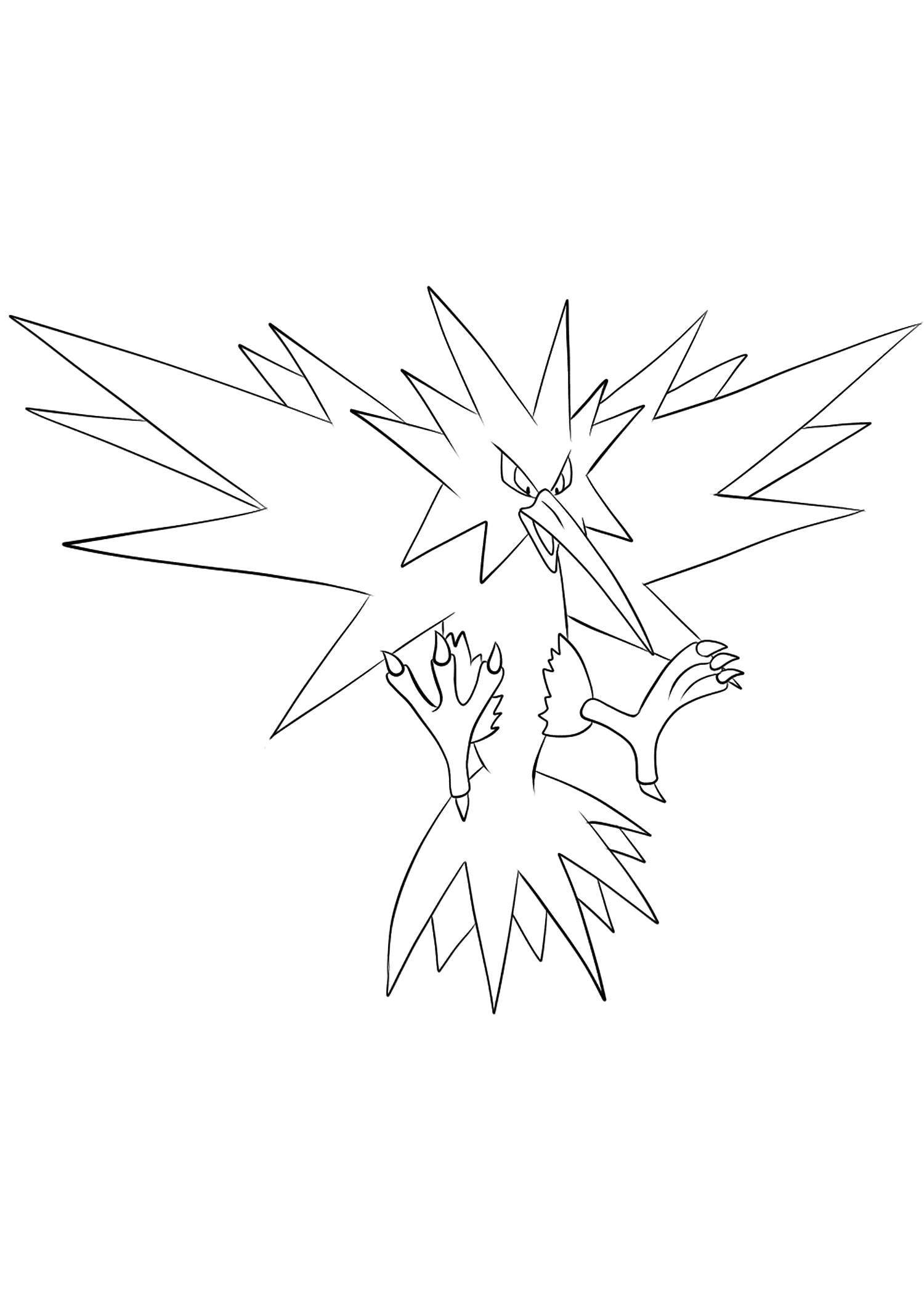 Zapdos Coloring page   Coloring pages, Pokemon coloring
