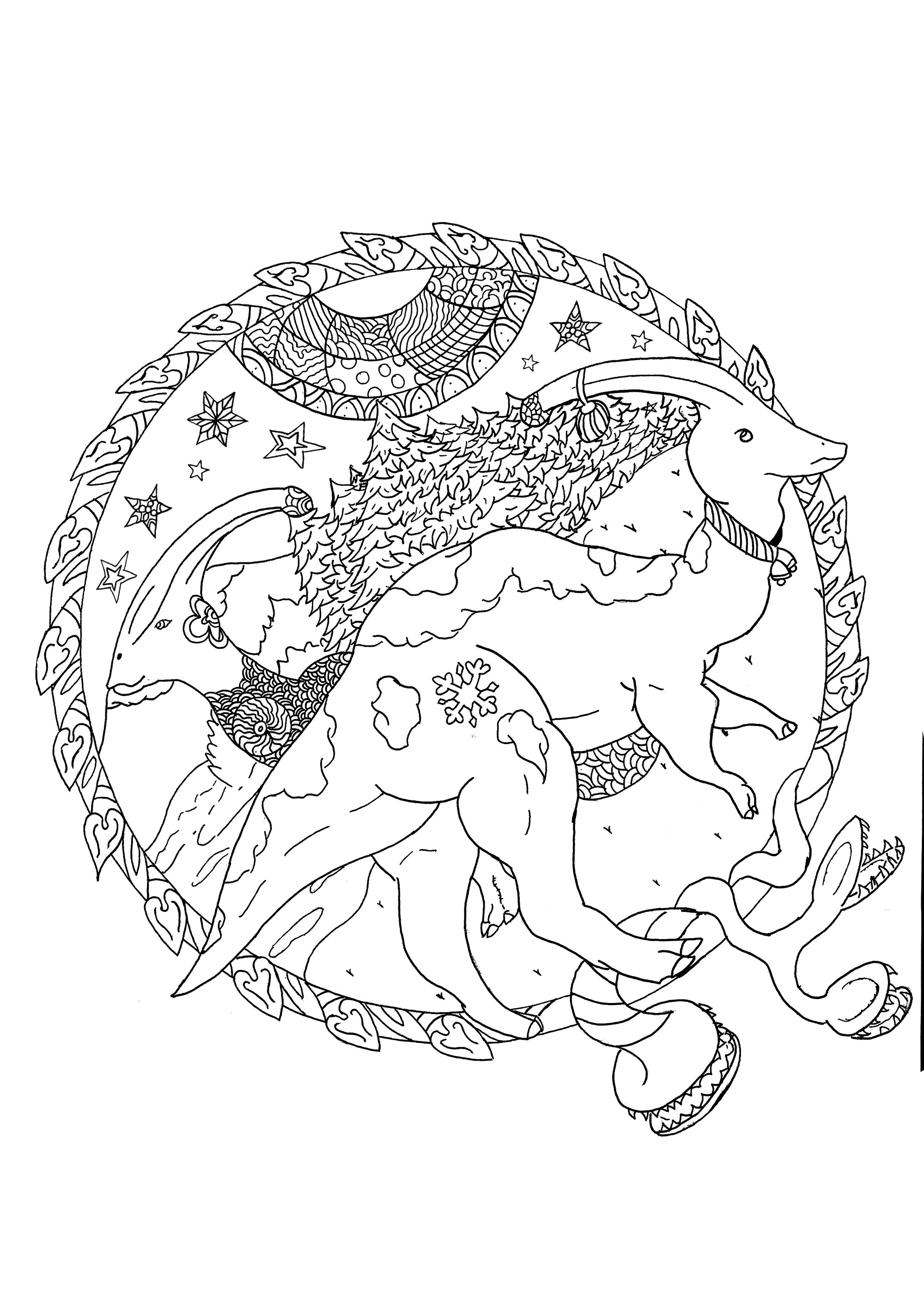 Christmas Dinosaur Coloring Pages : christmas, dinosaur, coloring, pages, Christmas, Dinosaurs, Adult, Coloring, Pages