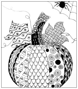 coloring halloween pages adult pumpkin simple drawing adults zentangle pumkin myers michael scary witch printable events doodle justcolor nggallery
