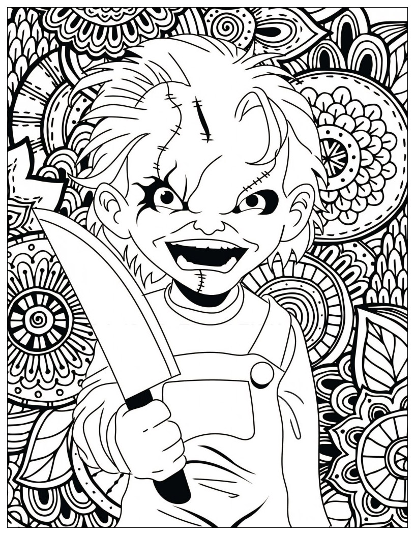 Chucky Coloring Pages : chucky, coloring, pages, Horror, Chucky, Halloween, Adult, Coloring, Pages