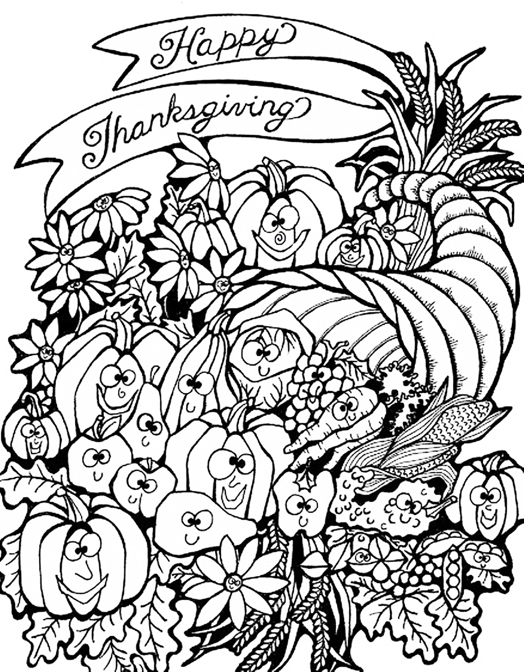 Harvest Coloring Pages For Adults : harvest, coloring, pages, adults, Thanksgiving, Harvest, Cornucopia, Adult, Coloring, Pages