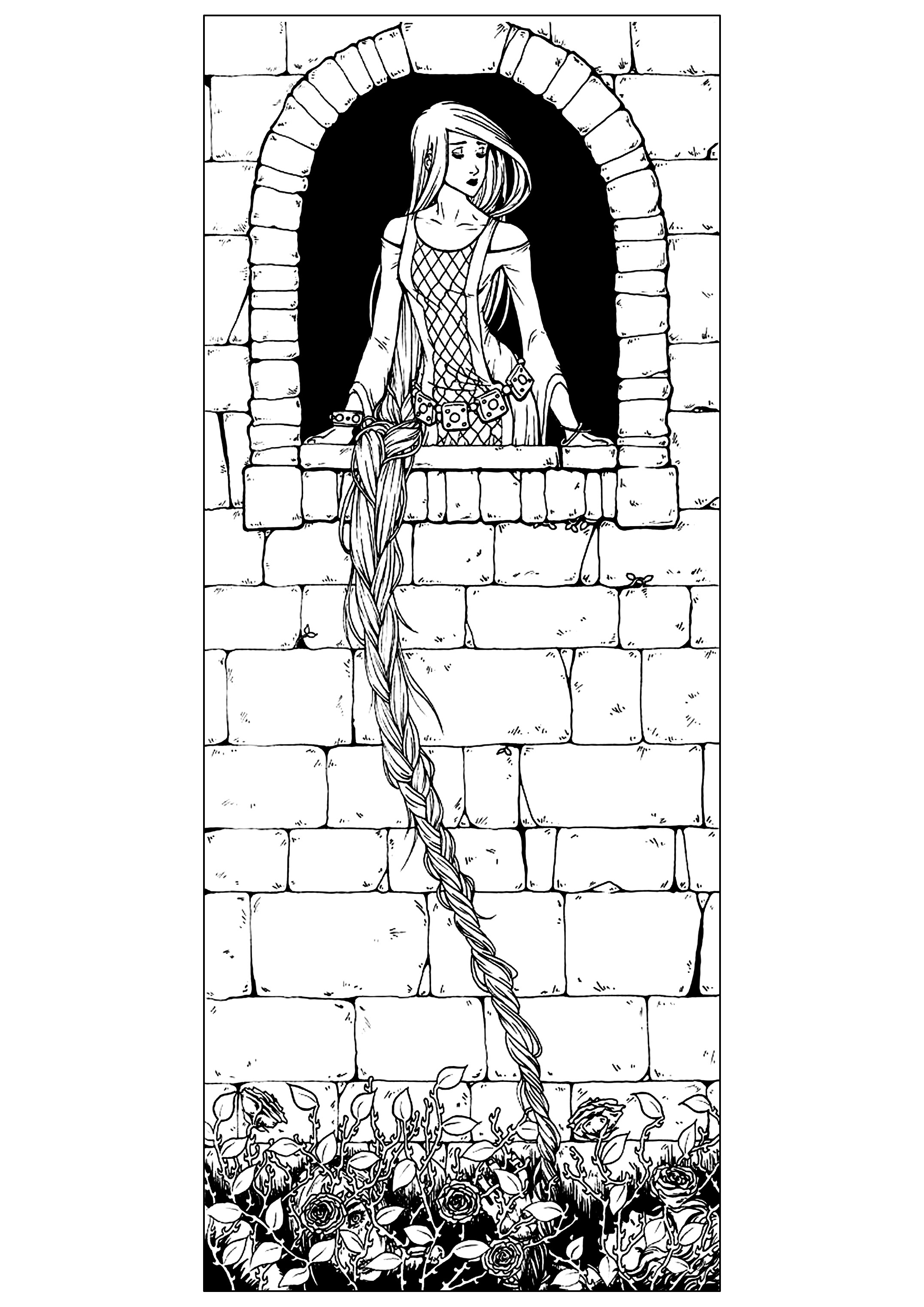 Raiponce Traditional Fairy Tales Adult Coloring Pages