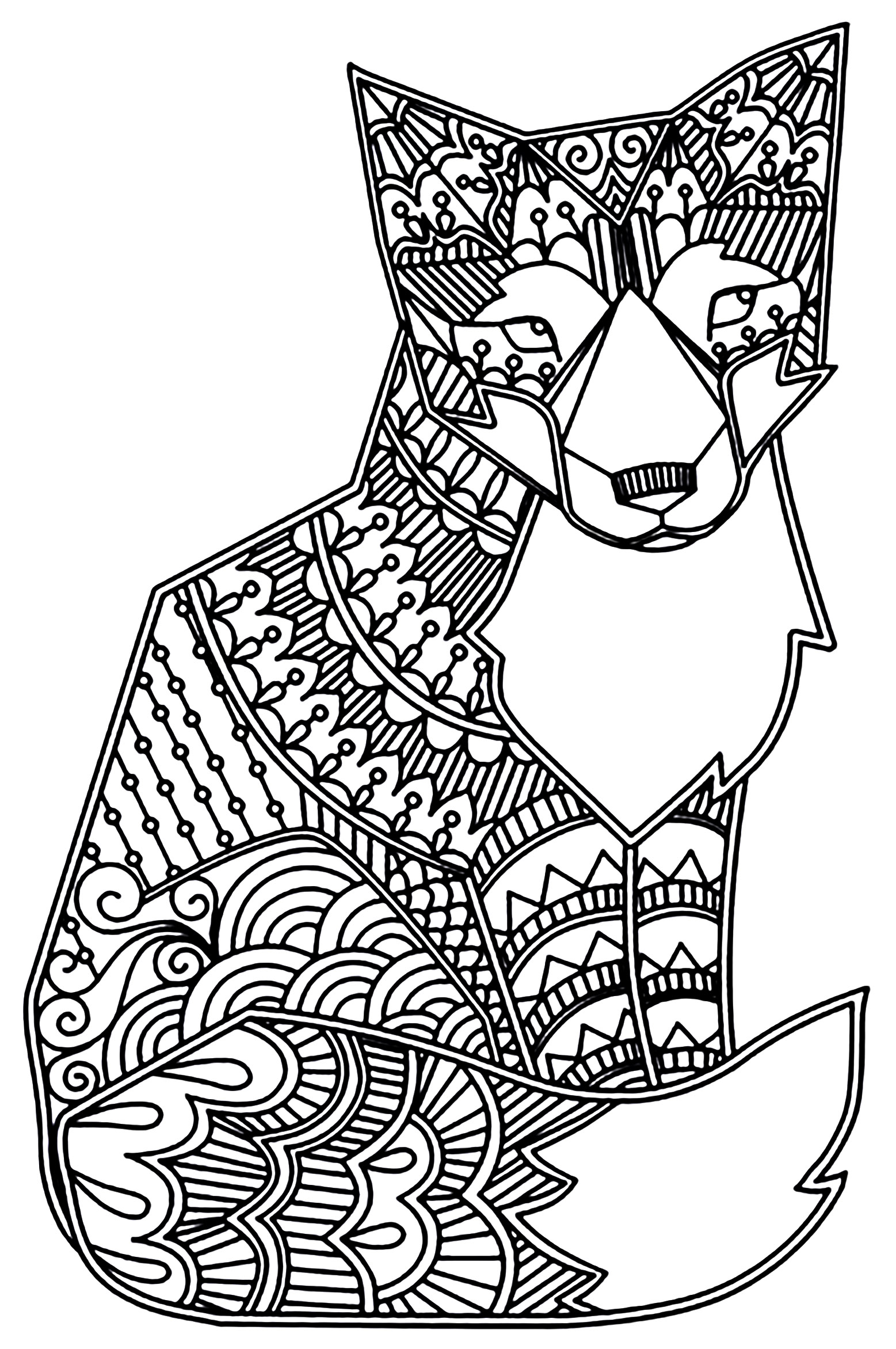 Fox Coloring Sheet : coloring, sheet, Foxes, Adult, Coloring, Pages