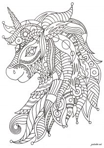 Adult Coloring Page Unicorn : adult, coloring, unicorn, Unicorns, Coloring, Pages, Adults