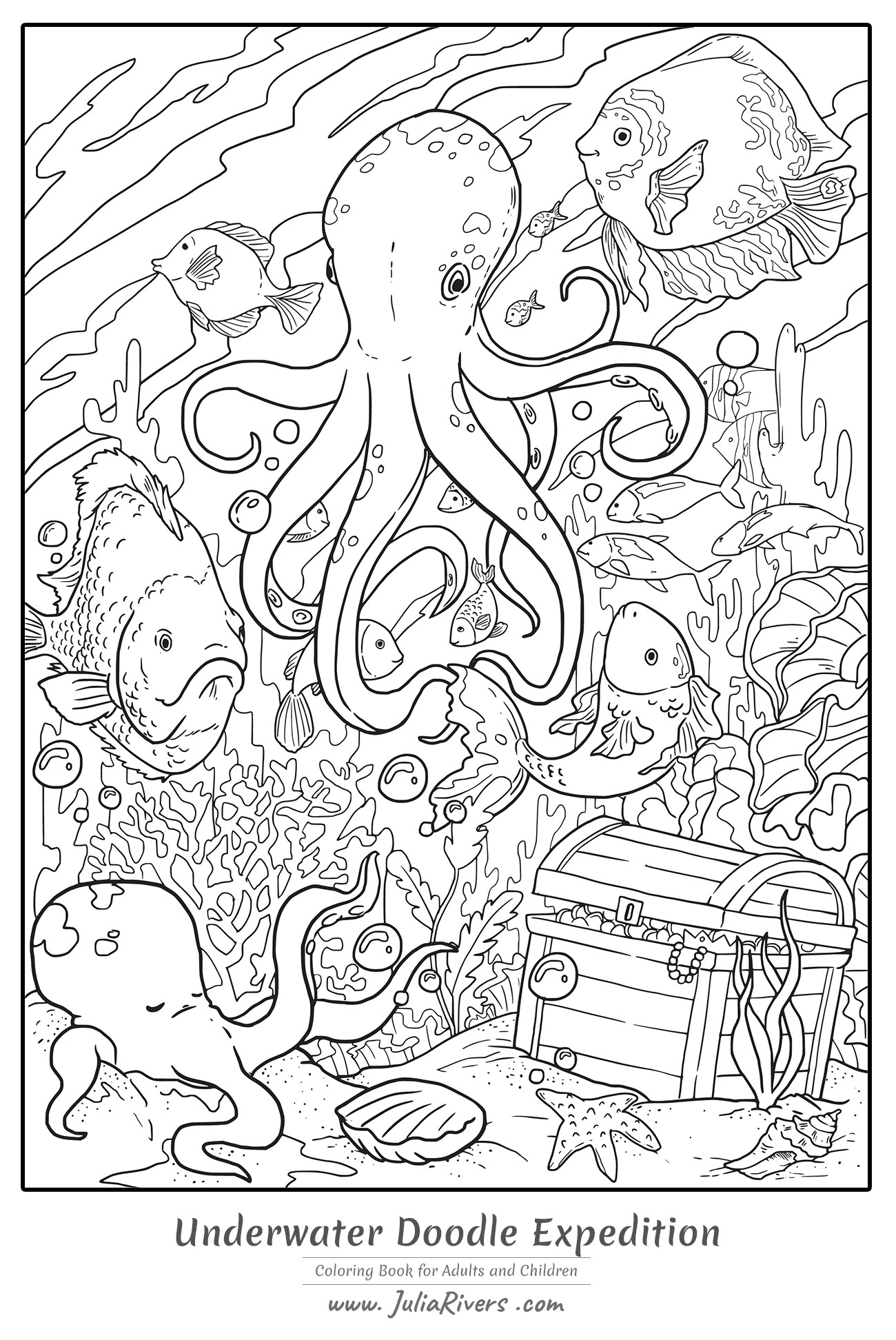 Underwater Coloring Page : underwater, coloring, Underwater, Doodle, Expedition, Water, Worlds, Adult, Coloring, Pages