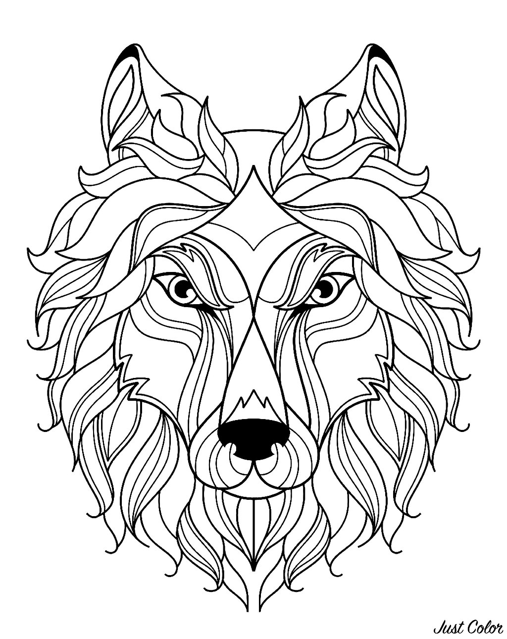 Wolves To Color : wolves, color, Simple, Wolves, Adult, Coloring, Pages