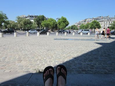 In the shade of the Arc de Triomphe in Paris, France