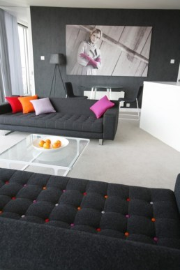 Modern decor with charcoal grey couches