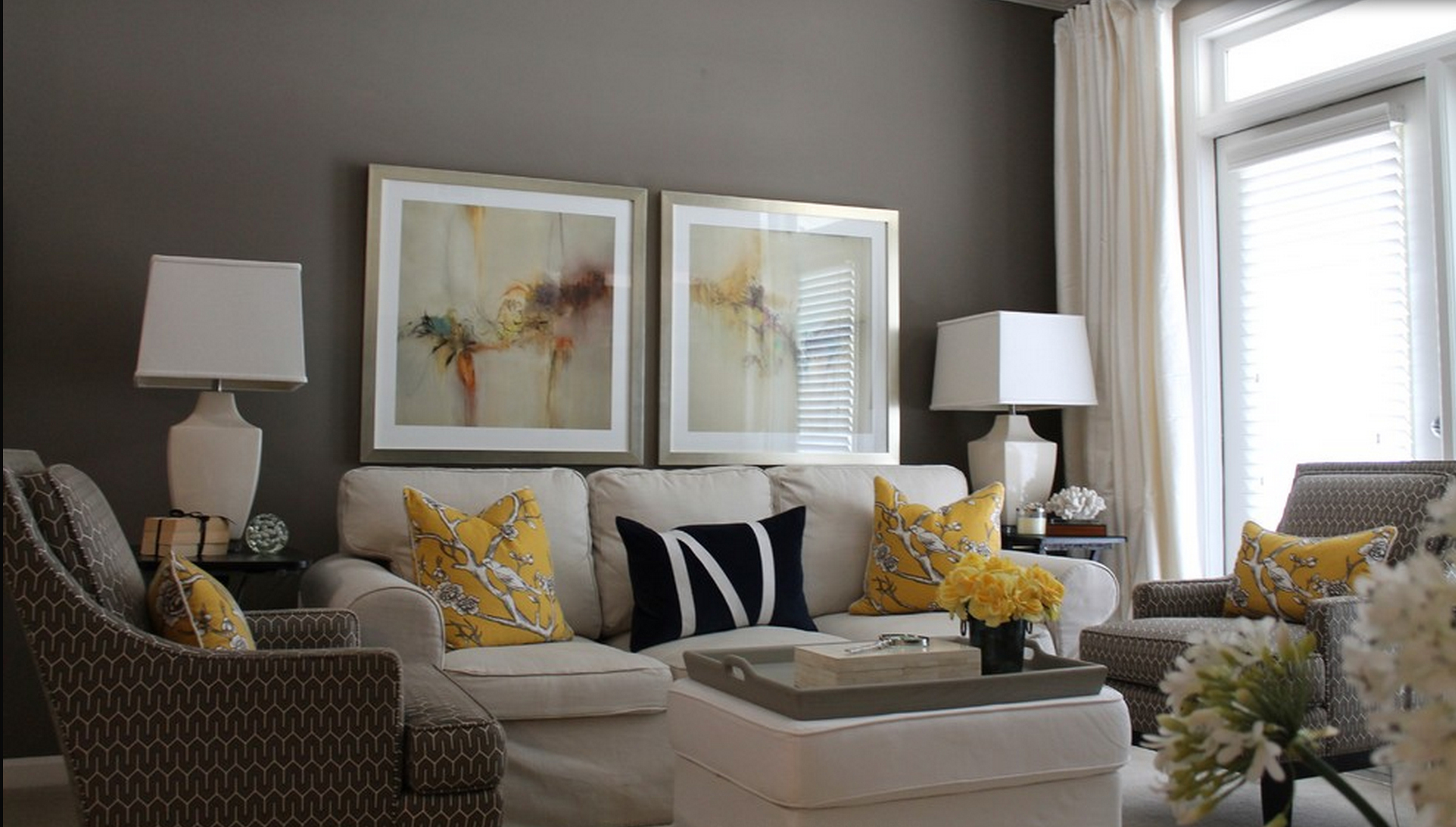 grey and yellow living room decor 2017