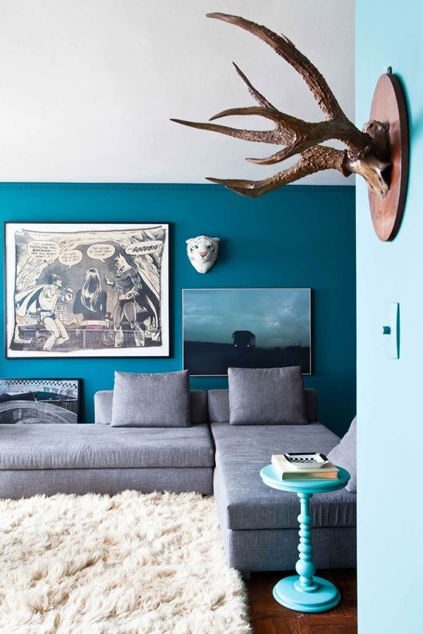 decor modern living room blue and grey  just decorate