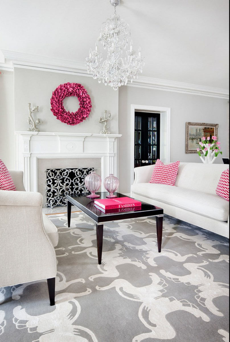 Traditional decor white grey and hot pink