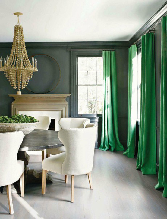 kelly green emerald traditional dining design curtains