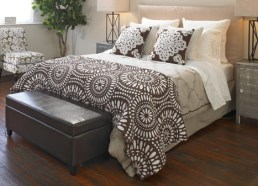 Coverlet and toss cushions add a pattern punch