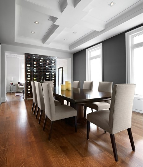 Contemporary Dining room Ceiling Treatment