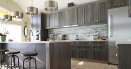 Gorgeous grey stained kitchen cabinets