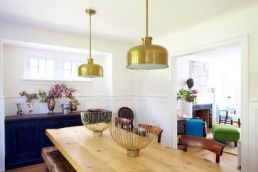 Gold accents in the dining room
