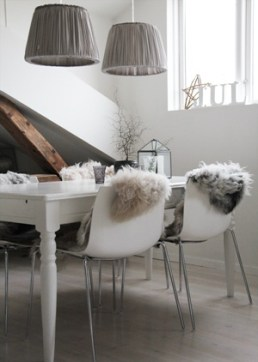 Add faux fur to a chair is an instant contemporary update