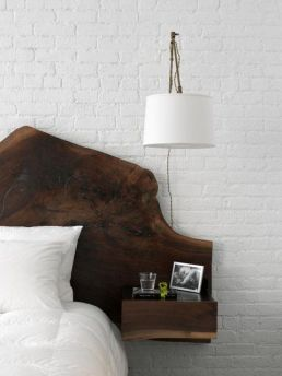 Raw wood hand carved headboard