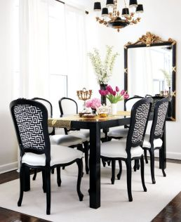 white black and gold diningroom