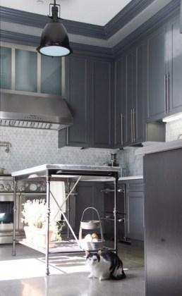 bistro kitchen island with grey cabinets
