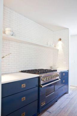 blue base kitchen cupboards