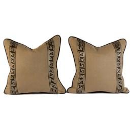 Greek Key ribbon on down filled cushions