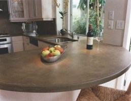curved concrete counter top